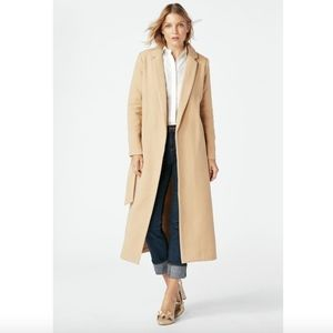 NWT Camel long trench wrap coat belted